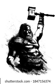 God Thor raises his hand, he holds a hammer and throws lightning. He has a naked torso. His eyes are sparkling, his face is stern. Fur on the shoulder. stylized ink drawing. 2d illustration