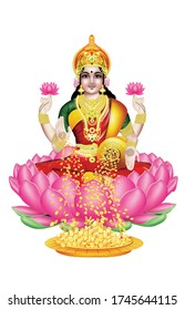 The God of Wealth Lakshmi with white background