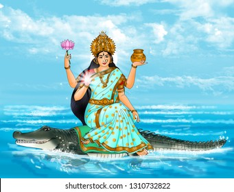 Goddess Ganga is represented as fair complexioned, wearing a white crown and sitting on a crocodile. She is endowed with four hands holding a water pot, a lily, a rosary and has one hand in protective