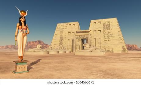 Goddess Hathor and temple of Edfu  Computer generated 3D illustration