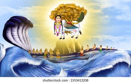 Goddess Kamadhenu emerging from the ocean during Samudra Manthan