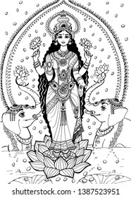 The goddess Lakshmi stands on a lotus flower and two elephants are located on the side. The goddess Lakshmi is the goddess of beauty and prosperity painted with black paint on a white background.