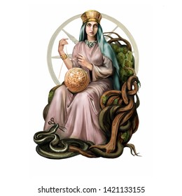 Goddess Mokosh sits on the throne, the Great Mother commanding Destiny and weaving the Thread of Life, the pagan mythology of the Slavs and Scandinavians, an isolated character on a white background