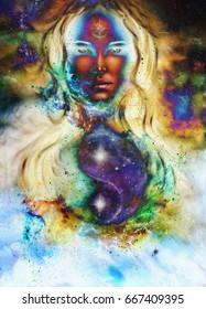 goddess woman and symbol Yin Yang in cosmic space.