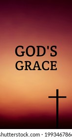 God's grace bible words with jesus cross symbol on colorful background