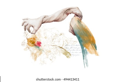 God`s Hand-Made Creations Digital Illustration of the moment when God creates