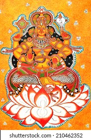 Gods of India. Full length Mural painting of Goddess Mookambika sitting on lotus flower
