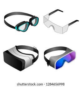 Goggles icon set. Isometric set of goggles icons for web design isolated on white background