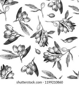 Goji berries seamless pattern. Simple pencil drawing. Manual graphics. Stylish vintage illustration. Design wallpaper, fabric, postcard, packaging.