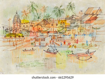 Gokarna holy village, Karnataka, India. Mahashivaratri celebration day. Boats floating on lake water. Artistic drawing, travel sketch