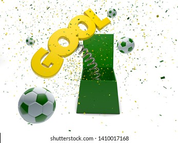 Gol or Gool - Goal in Portuguese - box surprise - 3d render - Path save
