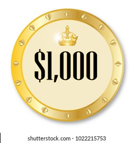 A gold 1000 dollar gambling chip over a white background