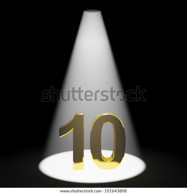 Gold 10th 3d Number Representing Anniversary Or Birthdays