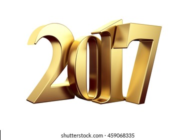 Gold 2017 new year 3d rendered image