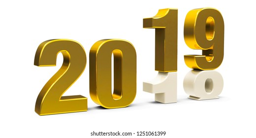 Gold 2018-2019 change represents the new year 2019, three-dimensional rendering, 3D illustration