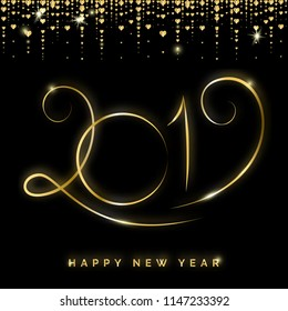 Gold 2019 Happy New Year Creative Raster Greeting Card. Winter Holidays Shining Background for Seasonal Flyers and Banners