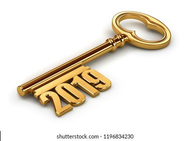 Gold 2019 key isolated on white background. 3d render illustrations.