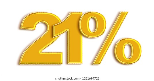 Gold 21 Percent off 3d Sign on White Background, Special Offer 21% Discount Tag, Sale Up to 21 Percent Off,big offer, Sale, Special Offer Label, Sticker, Tag, Banner, Advertising, offer Icon