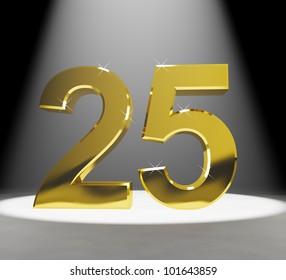 Gold 25th 3d Number Closeup Representing Anniversary Or Birthdays