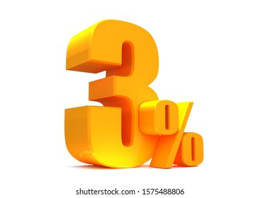 Gold 3 Percent off 3d Sign on White Background.