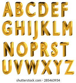 Gold 3d font. English alphabet with black shadow