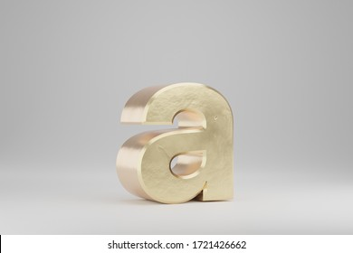 Gold 3d letter A lowercase. Golden letter isolated on white background. Golden alphabet with imperfections. 3d rendered font character.