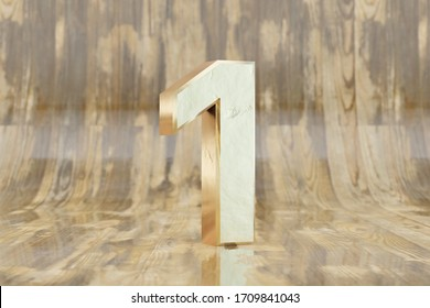 Gold 3d number 1. Golden number on glossy wet wooden background. Golden alphabet with imperfections. 3d rendered font character.