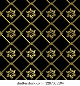 Gold 3d seamless  pattern on black background
