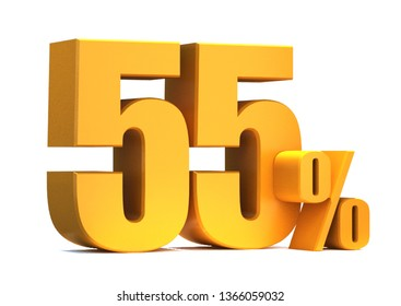 Gold 55 Percent off 3d Sign on White Background, Special Offer 55% Discount Tag, Sale Up to 55 Percent Off,big offer, Sale, Special Offer Label, Sticker, Tag, Banner, Advertising, offer Icon