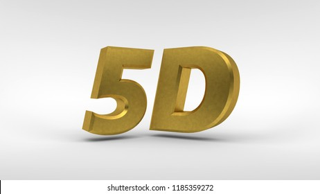 Gold 5D logo isolated on white background with reflection effect. 3d rendering.
