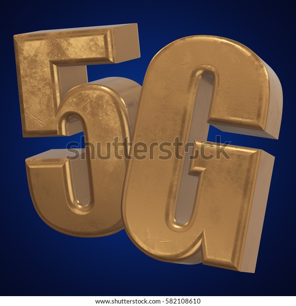 Gold 5G icon on blue background. 3D render letters