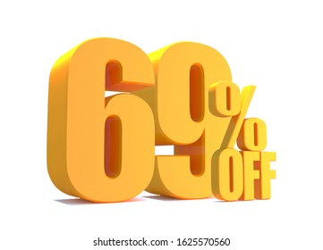 Gold 69 Percent off 3d Sign on White Background, Special Offer 69% Discount Tag, Sale Up to 69 Percent Off,big offer, Sale, Special Offer Label, Sticker, Tag, Banner, Advertising, offer Icon