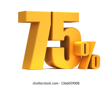 Gold 75 Percent off 3d Sign on White Background, Special Offer 75% Discount Tag, Sale Up to 75 Percent Off,big offer, Sale, Special Offer Label, Sticker, Tag, Banner, Advertising, offer Icon