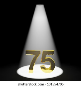 Gold 75th 3d Number Representing Anniversary Or Birthdays