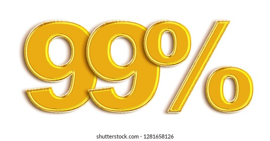 Gold 99 Percent off 3d Sign on White Background, Special Offer 99% Discount Tag, Sale Up to 99 Percent Off,big offer, Sale, Special Offer Label, Sticker, Tag, Banner, Advertising, offer Icon