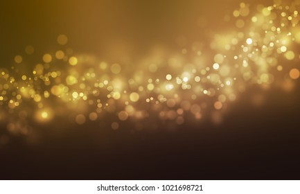Gold abstract bokeh background, Christmas lights, Blurry lights, Glitter sparkle