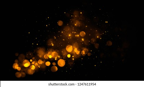 Gold abstract bokeh background. real dust particles with real lens flare stars. glitter lights . Abstract lights defocused. Merry Christmas and New Year feast.
