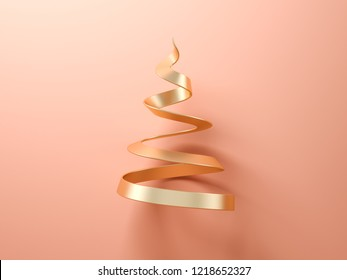Gold abstract christmas tree on pink background 3d rendering