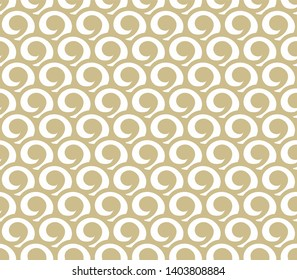 Gold abstract endless waves pattern. Seamless oriental Japanese marine ornament for graphic print, wallpaper, fashion clothes, apparel, wrapping paper design