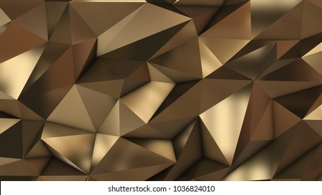 Gold abstract low poly triangle field