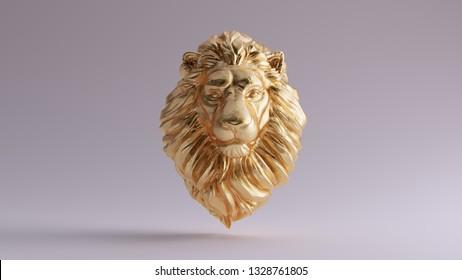 Gold Adult Male Lion Bust Sculpture Front 3d