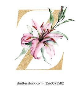 Gold alphabet, letter Z with watercolor flowers lilies and leaves. Floral monogram initials perfectly for wedding invitation, birthday, greeting card, logo and other. Holiday design hand painting.