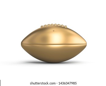 gold american football ball on a white background. 3d image render.