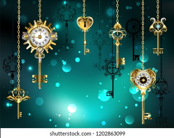 Gold, antique keys with gears and dials hang on gold chains on  luminous green background.
