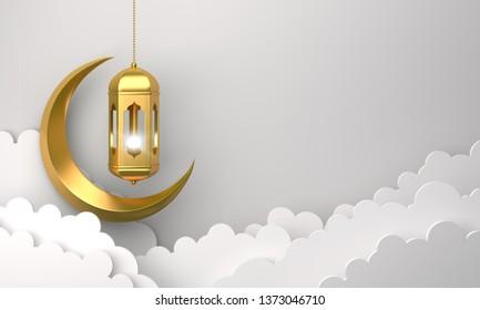 Gold arabic lantern, cloud, crescent, on white background copy space text. Design creative concept for islamic celebration day ramadan kareem or eid al fitr adha. 3d render.