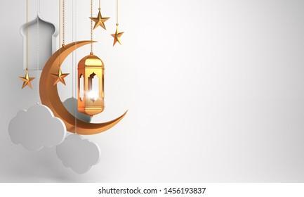 Gold arabic lantern, crescent, cloud, star, window on white background. Design creative concept of islamic celebration day ramadan kareem or eid al fitr adha, hajj, hijri, mawlid. 3D illustration. - Shutterstock ID 1456193837