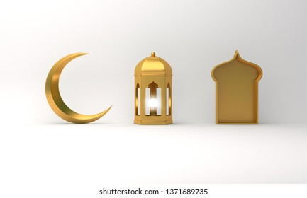 Gold arabic lantern, crescent moon, window on white background copy space text. Design creative concept for islamic celebration day ramadan kareem or eid al fitr adha. 3d rendering.