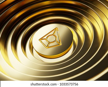 Gold Augur on the gold circle background. 3D illustration of Bitcoin, coin, cryptocurrencies, cryptocurrency, augur
