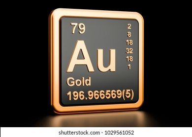 Gold aurum Au, chemical element sign. 3D rendering isolated on black background