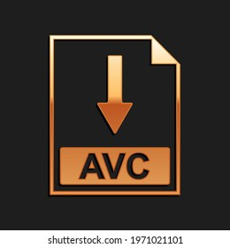 Gold AVC file document icon. Download AVC button icon isolated on black background. Long shadow style.